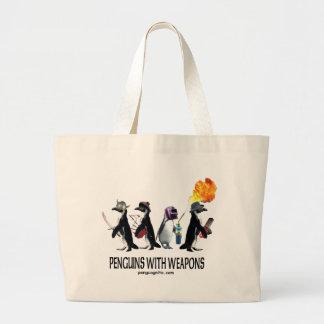 pingüinos con las armas bolsa tela grande