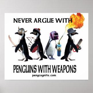 pingüinos con las armas póster