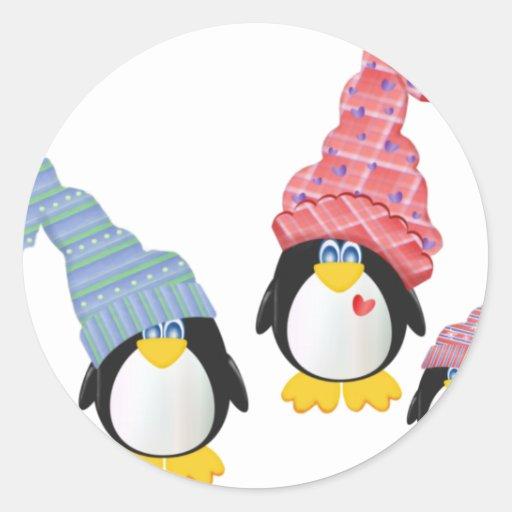 Pingüinos con los gorras pegatinas redondas