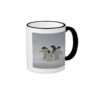 Pingüinos de Adelie en flujos del hielo Taza A Dos Colores