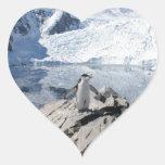 Pingüinos de Chinstrap en la Antártida Pegatina En Forma De Corazón