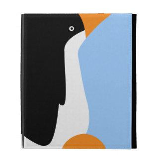 Pingüinos de emperador lindos en un caso del iPad