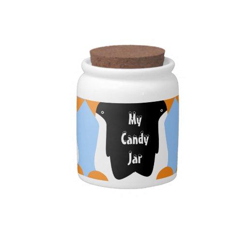 Pingüinos de emperador personalizados lindos mi ta jarra para caramelo