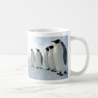 Pingüinos de emperador que tienen una reunión taza