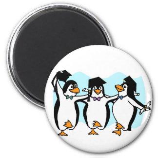 Pingüinos de graduación del dibujo animado lindo imán redondo 5 cm