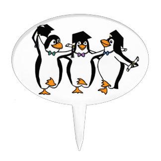 Pingüinos de graduación del dibujo animado lindo palillos de tarta