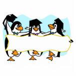Pingüinos de graduación felices w/Banner del baile Esculturas Fotográficas