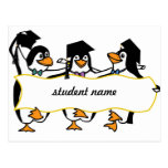 Pingüinos de graduación w/Banner del dibujo animad