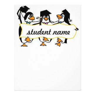 Pingüinos de graduación w/Banner del dibujo animad Flyer Personalizado