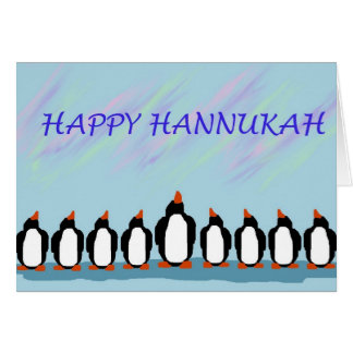 Pingüinos de Hannukah Tarjeton