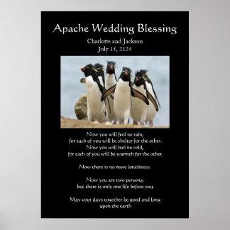 Pingüinos de la bendición del boda de Apache Póster