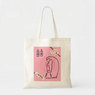 pingüinos de la flor de cerezo bolsa tela barata