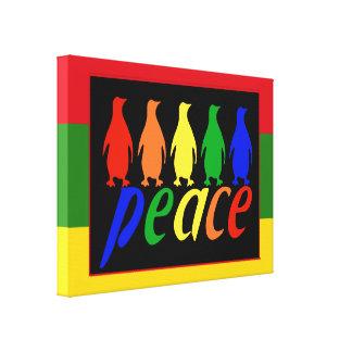 Pingüinos de la paz del arco iris lona envuelta para galerias