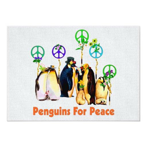 """Pingüinos de la paz invitación 5"""" x 7"""""""