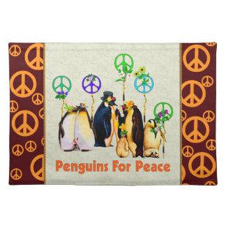 Pingüinos de la paz mantel individual