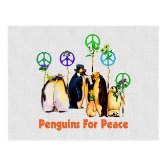 Pingüinos de la paz tarjetas postales