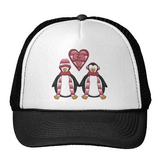 Pingüinos de la tarjeta del día de San Valentín de Gorro De Camionero