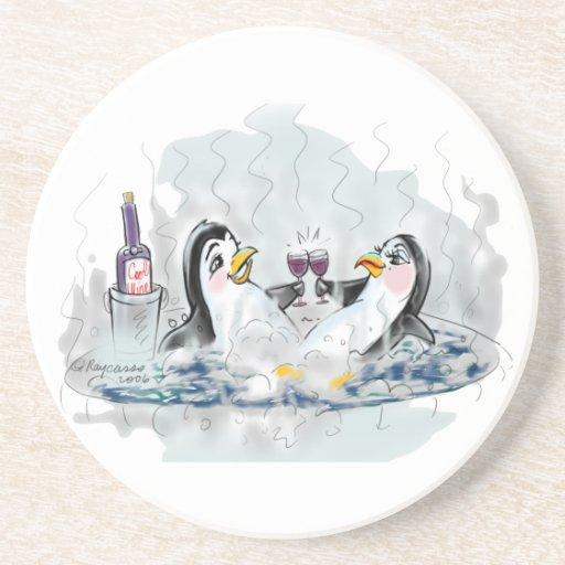 Pingüinos de la tina caliente posavasos diseño