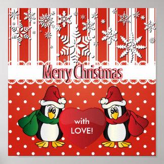 Pingüinos de las Felices Navidad con amor Póster