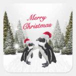 Pingüinos de las Felices Navidad en la nieve Pegatina Cuadradas