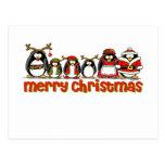Pingüinos de las Felices Navidad Tarjeta Postal