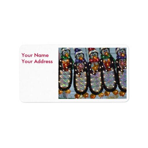 Pingüinos de Navidad, su dirección de NameYour Etiquetas De Dirección