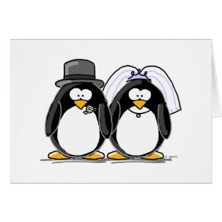 Pingüinos de novia y del novio tarjetas