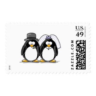 Pingüinos de novia y del novio timbres postales