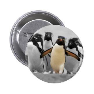 Pingüinos de Rockhopper Pin Redondo 5 Cm