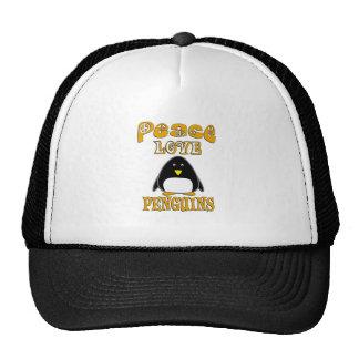 Pingüinos del amor de la paz gorras de camionero