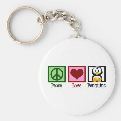 Pingüinos del amor de la paz llaveros personalizados