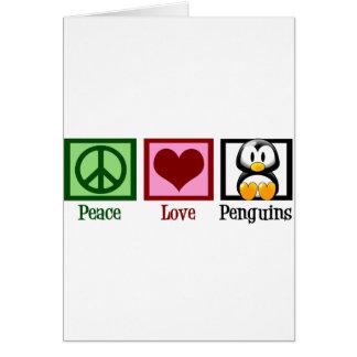 Pingüinos del amor de la paz tarjeta de felicitación