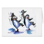 pingüinos del baile tarjeta