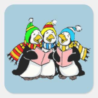 Pingüinos del canto del villancico niños dibujo pegatina cuadrada
