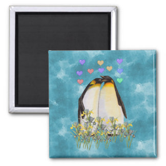 Pingüinos del el día de San Valentín Imán Cuadrado