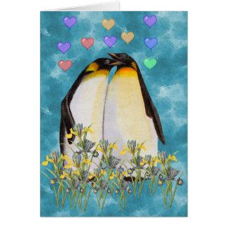 Pingüinos del el día de San Valentín Tarjetón
