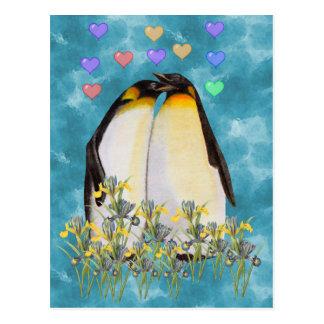Pingüinos del el día de San Valentín Tarjeta Postal