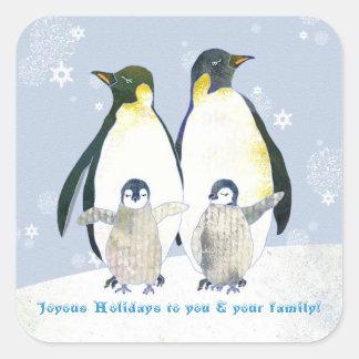 Pingüinos del invierno, pegatinas felices del colcomanias cuadradases