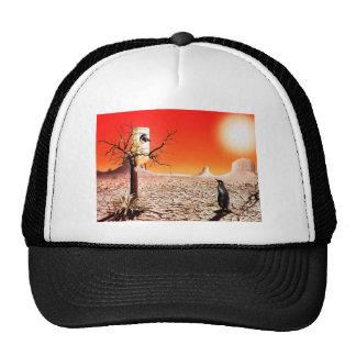Pingüinos del montaje de la foto en el desierto gorro