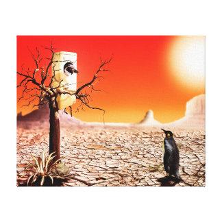 Pingüinos del montaje de la foto en el desierto impresión en lienzo
