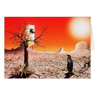 Pingüinos del montaje de la foto en el desierto tarjeta de felicitación