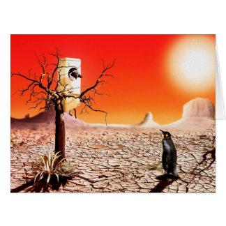 Pingüinos del montaje de la foto en el desierto tarjeta de felicitación grande