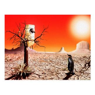 Pingüinos del montaje de la foto en el desierto tarjetas postales
