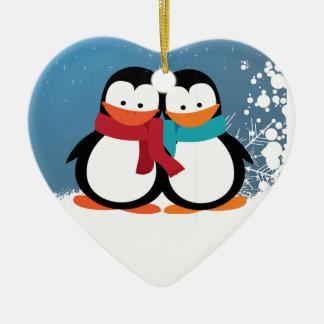 Pingüinos del navidad ornamento de navidad