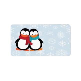 Pingüinos del navidad etiqueta de dirección