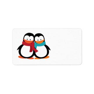 Pingüinos del navidad etiquetas de dirección