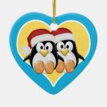 Pingüinos del navidad ornato