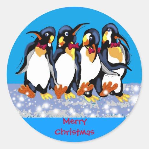 Pingüinos del navidad pegatina redonda
