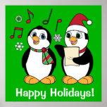 Pingüinos del navidad que cantan impresiones