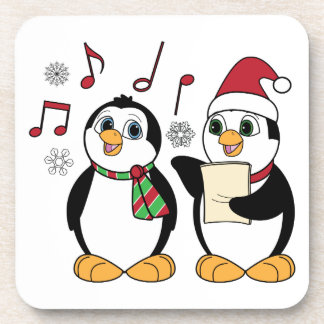 Pingüinos del navidad que cantan posavasos